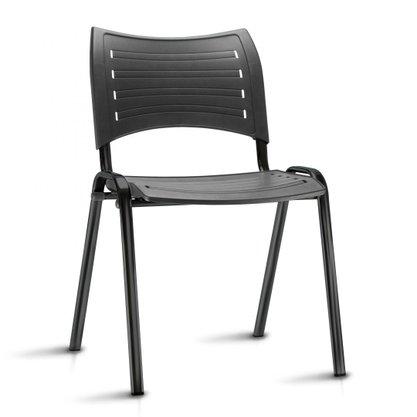 Cadeira Empilhável ISO Plás.Fixa 4 pés Frisokar Preta
