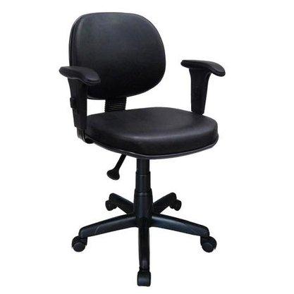 Cadeira Executiva Courino Preto Giratória com Braço Reg