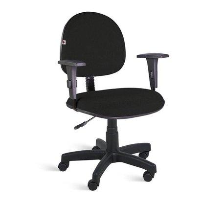 Cadeira Executiva Tecido Preto Giratória com Braços Regulável