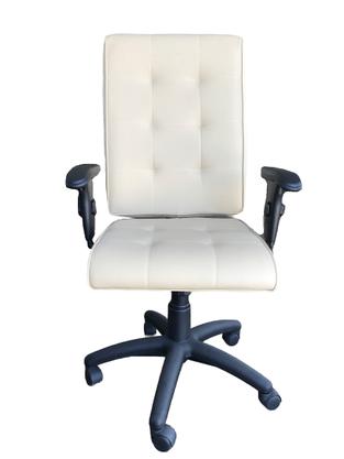 Cadeira Atria Pres. Marfim Base Preta Gir. Braço T