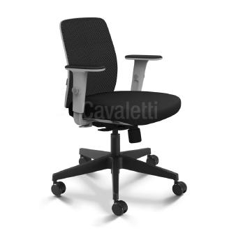 Cadeira Pres.Idea Mesh Preto e Cinza Base Gir.Braço T-Cavaletti