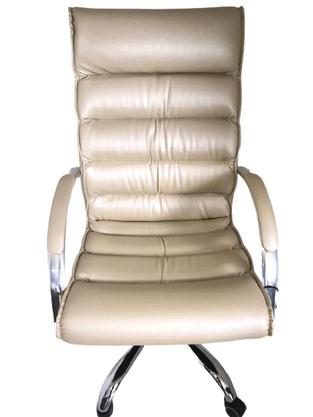 Cadeira Presidente Soft Champanhe Base Cromada Gir.