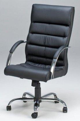 Cadeira Presidente Soft Facto Preto Base Cromada Gir.