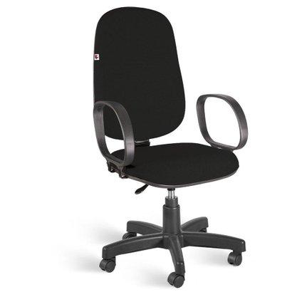 Cadeira Presidente Tecido Preto Giratória com Braços Corsa