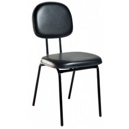 Cadeira Secretária Courino Preto com Base Fixa 4 Pés