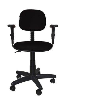Cadeira Secretária Courino Preto Giratória c/Braço Reg