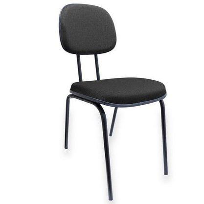 Cadeira Secretária Tecido Preto com Base Fixa 4 Pés