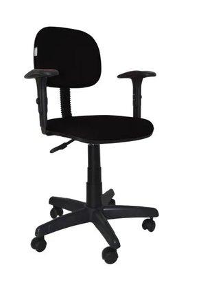 Cadeira Secretária Tecido Preto Giratória c/ Braço Reg