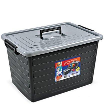 Caixa Organizadora Preta com 50 Litros