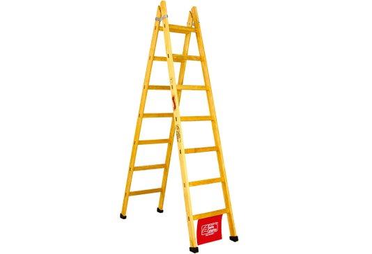 Escada de madeira para abrir com 6 degraus