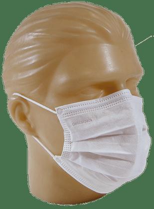 Máscara Descartável Tripla Cirúrgica c/ Clip Nasal Branca Descarpack- Pct c/ 50unid