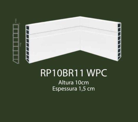 Rodapé de WPC 10cm Branco com 1 friso- 2,20mts