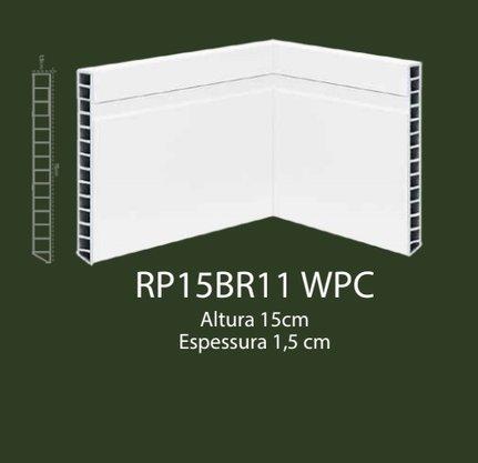 Rodapé de WPC 15cm Branco com 1 friso- 2,20mts