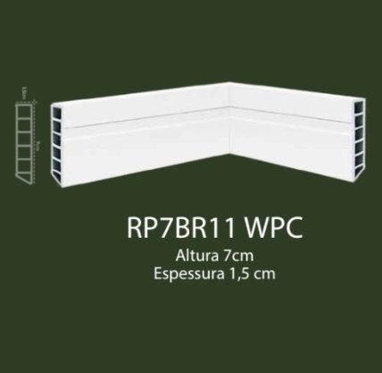 Rodapé de WPC 7cm Branco com 1 friso- 2,20mts