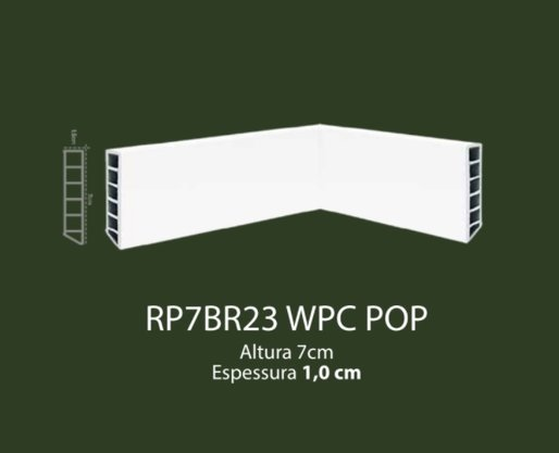 Rodapé de WPC POP 7cm Branco liso- 2,20mts
