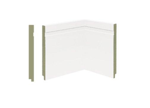 Rodapé MDF Premium 19cm Branco c/ Friso- barra 2,40mts
