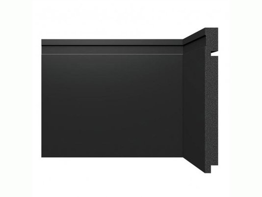 Rodapé Santa Luzia de Poliestireno Black 3505 200x16 mm Preto -2,40mts