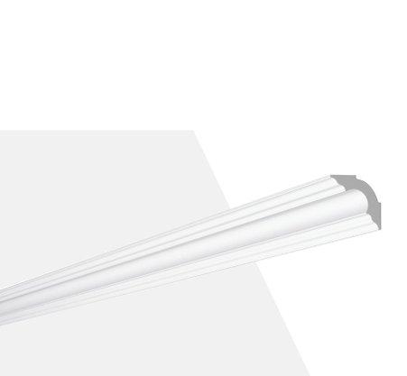 Rodateto de Poliestireno A2 50x50x2000mm Branco Gart- Barra com 2mts